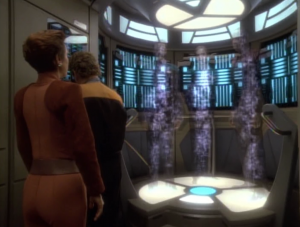The transporter path goes through some time warp thing and Sisko, Dax and Bashir are transported to the year 2024