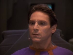 Bareil gets a positronic implant, and it makes him weird