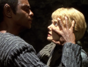 While Kes was trying to interrogate Tuvok, he gets her in a mind meld