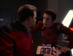 Riker and Kira fight over who is a better terrorist