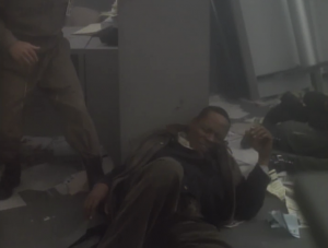 Sisko takes a bullet for one of the hostages!