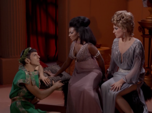 They make Uhura and Chapel listen to Spock sing