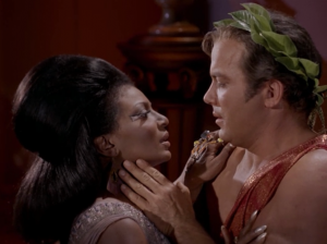 Then there's the first interracial kiss! Well, on American TV anyway...and if you're only counting kisses between fictional characters...and if you're not counting Lucy and Ricky. But hey, it's still something, right? I think it's kind of lame that the actors didn't really kiss