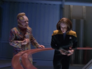 In the beginning Neelix is bothering everyone, wanting to help them out