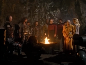 Picard is mediating between two groups that have been driven apart by years of disputes