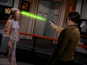 "She can move so fast that they couldn't see her. She makes it so Kirk is ""accelerated"""