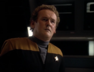Riker runs into O'Brien and says he has nothing to say to him
