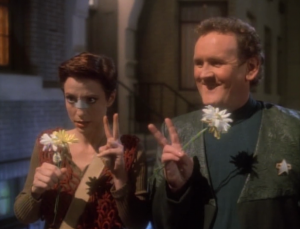 Meanwhile Kira and O'Brien are randomly guessing time periods to find Sisko, Bashir and Dax. Dumb