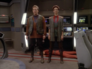 Kira gives Riker a tour and once she gets through the security on the Defiant, he shoots her and beams aboard some of his friends