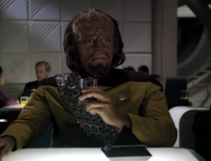 Worf drinks prune juice