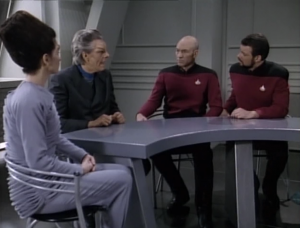They also talk to a lab assistant who says the scientist/husband thought Riker was going to kill him