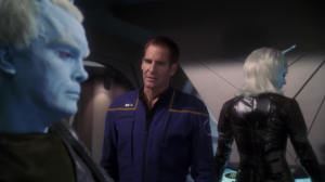 Then Shran turns on Archer and keeps the weapon for himself