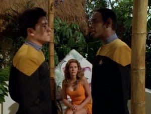 The next day Kim finds Tuvok playing the Vulcan game with the holodeck lady and Kim gets really jealous. Tuvok just deletes the program of her