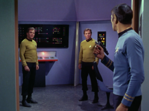 Spock has to figure out which one is really Kirk
