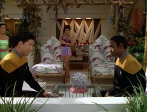 Tuvok convinces the lady to not kill everyone and then Kim and Tuvok become buds