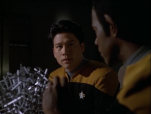 Kim is in love with a holodeck program. He goes to Tuvok for help