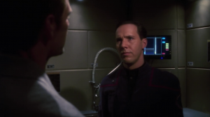 Daniels shows up and says that some Xindi are in the 20th century. He wants Archer to go figure it out. I liked Daniels in the beginning when I though he was mysterious. It turns out he's just a really lazy time traveler and screws up most of the things he's supposed to do