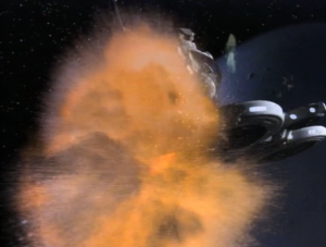 Enterprise goes to pick up Riker from a station and right when they beam him off, the station explodes