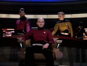 Enterprise is some kind of a battle ship. They wear belts and Yar is back