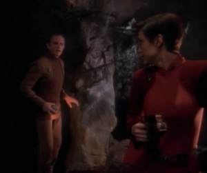 While Odo was away the Maquis person shot at Kira and ran off