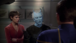 Shran shows up and helps Enterprise. Archer and T'Pol are a little curious about his motives. He says that what's really weird is that no one else has helped Enterprise, mentioning that the Vulcans couldn't even give one officer in support (referring to T'Pol). Hey, that's a good point.