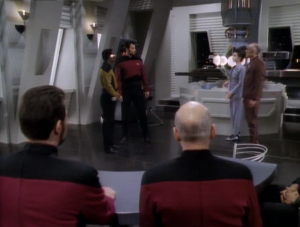 They recreate the testimonies in the holodeck so Picard can decide whether or not to hand Riker over to them for a trial