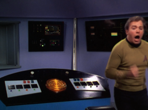 But when he tries to beam up, Scotty asks him for the secret passcode