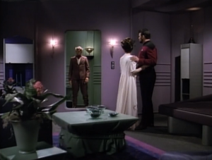 In Riker's version, a lady hits on him, and then he beams away the next day, definitely not blowing anything up