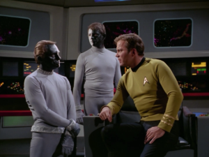 """Kirk says he'll just blow up Enterprise. I love the sequence of going through all the voice authorizations. The final passcode is """" Code zero-zero-zero-destruct-zero."""""""