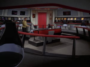 Kirk tries to beam to a planet but instead he seemingly beams back to the ship, only no ones there