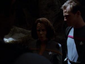 Tuvok and Chakotay go down, and Tuvok figures out that the Pon Farr has been transferred to B'Elanna