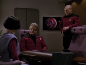 The mean Starfleet man tells Lal that she has to leave the ship