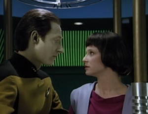 But ultimately he can't save her. Lal tells Data that she loves him, and Data says he doesn't feel love, sorry. Aww, how sweet