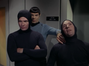 Then Spock beams to the fake ship and very quickly realizes what's going on