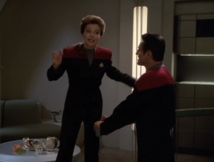 Then Janeway is healed and she goes on a date with Chakotay