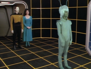 Data's child, Lal, has to choose what it will look like. One option was a weird looking Andorian