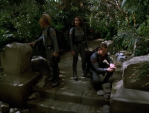 B'Elanna, Neelix and Paris go down to a planet because they detected a resource they need. They also find some ruins of a civilization that was destroyed