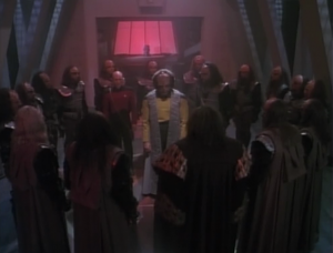 In the end, Worf agrees to be disowned by the Klingons