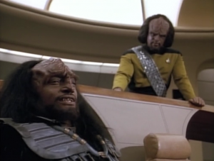 A Klingon acts as first officer of Enterprise in the officer exchange program. He seems to butt heads with Worf