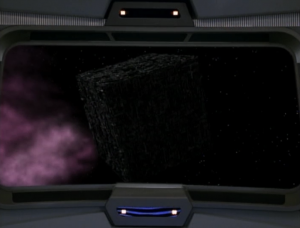 Meanwhile, Voyager comes across a Borg cube that's adrift!