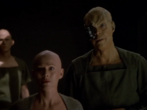Chakotay finds out that the lady doesn't have hair! Also, they used to be Borg
