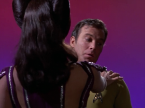 "When she says she's ""for Sulu"" her touch doesn't kill Kirk"
