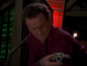 The past O'Brien had too much radiation so the future O'Brien has to go back in his place