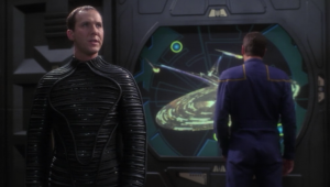 Daniels takes Archer to Enterprise J, while it's fighting against the sphere builders in the future. He explains how the Sphere builders would have destroyed the Xindi if it wasn't for the Federation