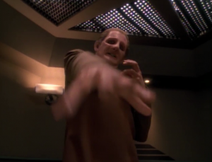 He uses a device that makes it so Odo can't transform. If he doesn't return to a liquid state he could die or something!