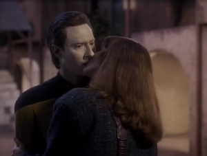 """From """"Esigns of Command"""": Lady: """"Do you have any feelings for me?"""" Data: """"I have no feelings of any kind"""""""