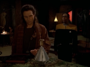 Tuvok investigates what happened and for some reason this guy covers for the Doctor