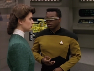 """In """"Booby Trap"""" Geordi falls in love with a hologram"""