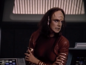 """In """"The Emissary"""" one of Worf's old girlfriends shows up. They mostly yell at each other"""