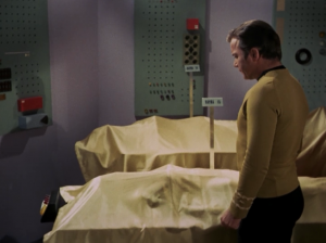 Kirk and Spock stumble upon his secret robot room. His student is really a robot. He's been trying to make a perfect mate